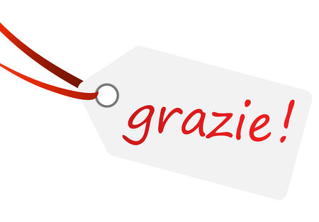 Hang tag with text  grazie !  Illustration