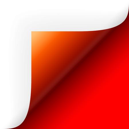 papier hoek beurt over rood