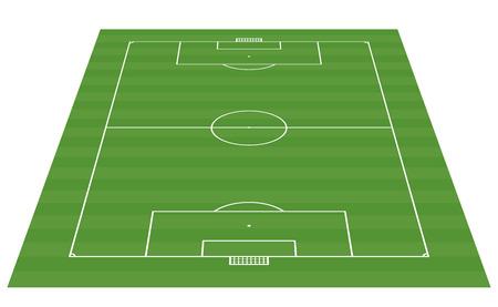 cancha de futbol: campo de fútbol 3-D de fondo ilustración vectorial Vectores