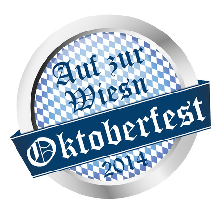 wiesn: vector of Button Oktoberfest 2014 - Auf zur Wiesn