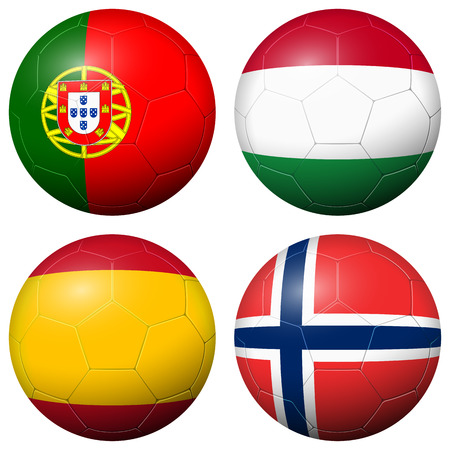 country flags: collection of soccer footballs with country flags