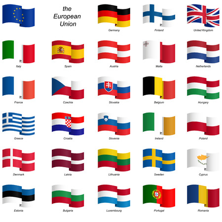 collection of country flags European Union vector