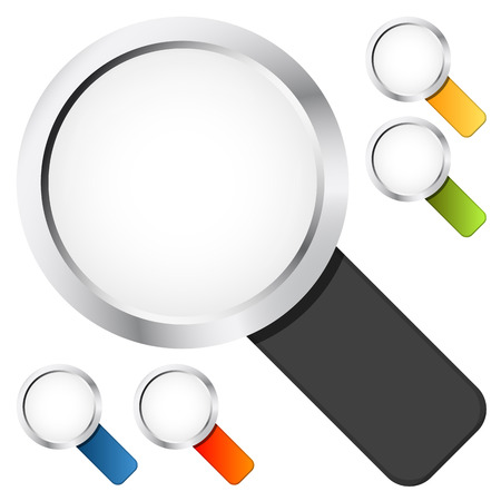 loupe: colored magnifying glasses on white background