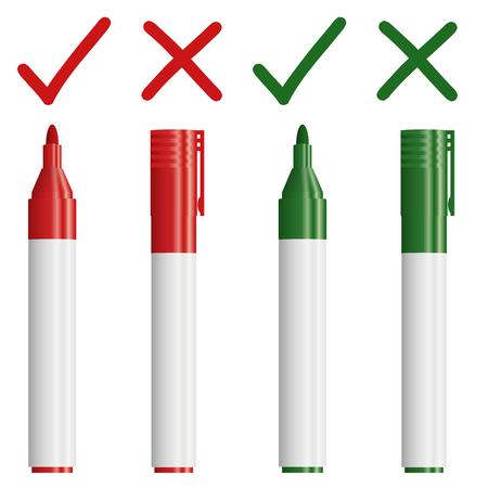 marcadores rojos y verdes con la cruz y la verificación