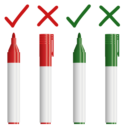pen on paper: red and green markers with cross and check