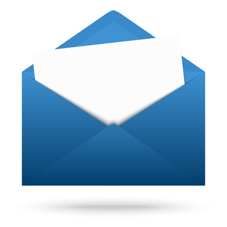 urgently: opened envelope blue with white paper