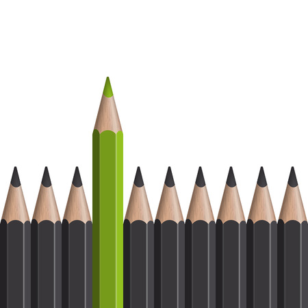 Standing Out! - green pencil between others
