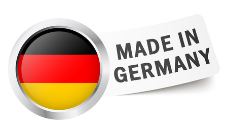made in germany: germany button with flag made in germany