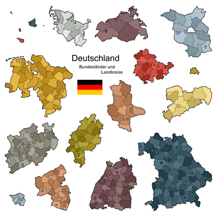 country Germany - map in details Stock Vector - 31625574