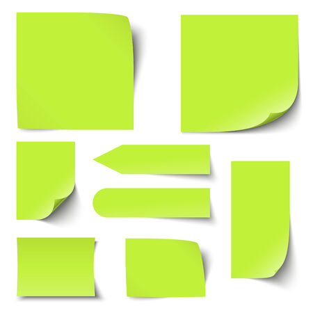 broadsheet: set of green sticky notes with different shadows Illustration