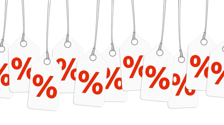 cheaper: white pendants with percentage signs - endless Illustration