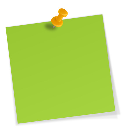 it is isolated: sticky note with pin needle