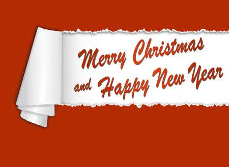 the turn of the year: torn-paper with MERRY CHRISTMAS AND HAPPY NEW YEAR