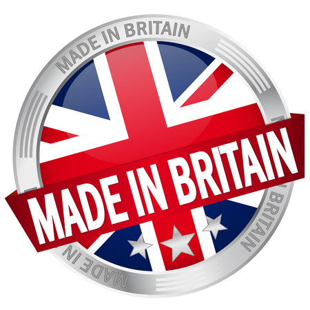 Button with banner Made in Britain Vector