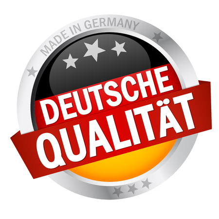 Button with Banner DEUTSCHE QUALIT?T Vector