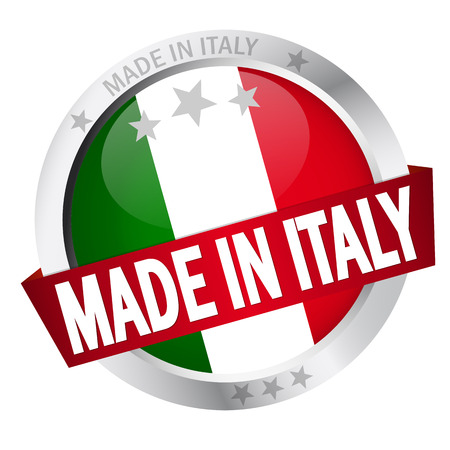 banderole: Button with Banner MADE IN ITALY Illustration