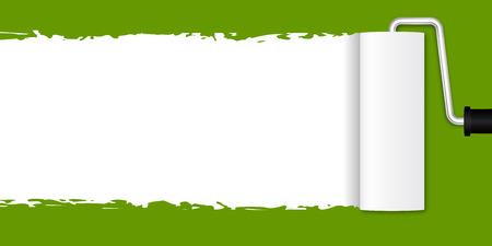 Pintura con el rodillo de pintura - verde Ilustración de vector