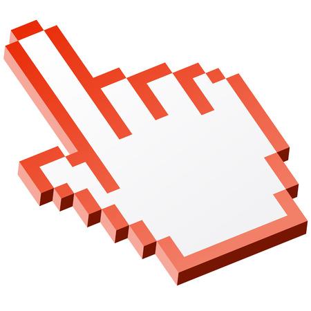 3d cursor: 3D Pixel graphic hand - forefinger red Illustration