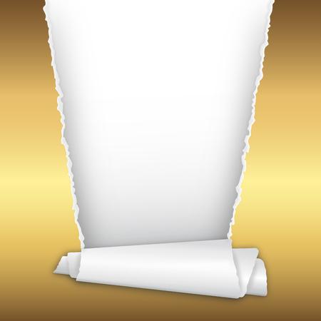 strappato carta dorata aperto con lo spazio per il testo