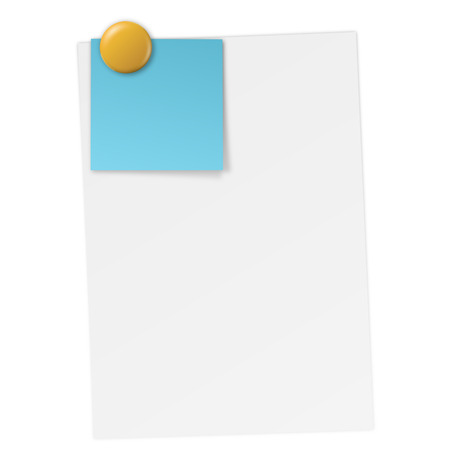 White paper with notes and magnet Vector