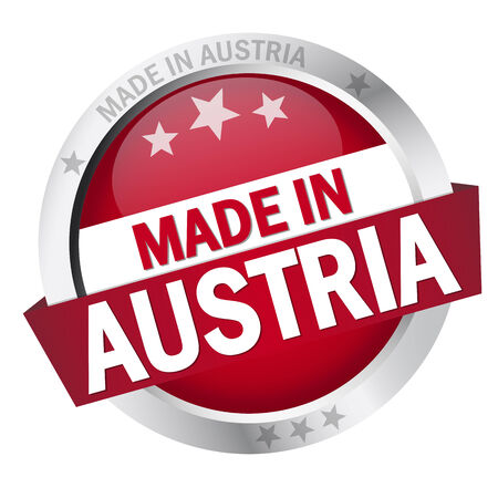 Button with Banner MADE IN AUSTRIA Vector