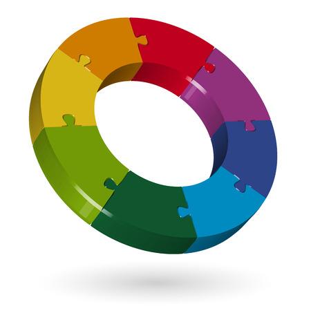 merge: 3D puzzle circle - 8 parts