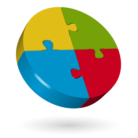 method: 3D puzzle circle - 4 parts