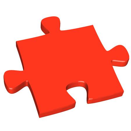 puzzle piece: Pieza del rompecabezas 3D rojo Vectores