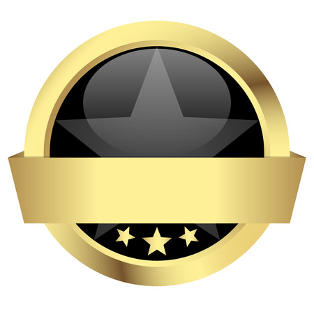 gold button with banner - template Vector