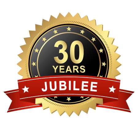 30: Jubilee Button with Banner - 30 YEARS Illustration