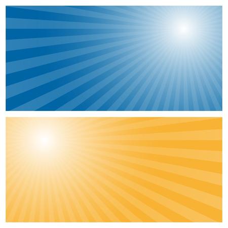 Strepen achtergrond met blauwe en oranje centrum Stock Illustratie