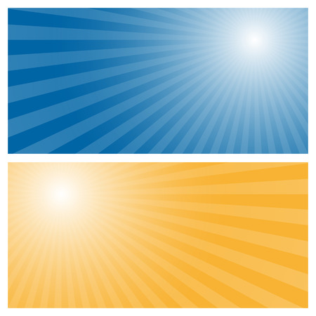 radiations: Stripes background with blue and orange center Illustration