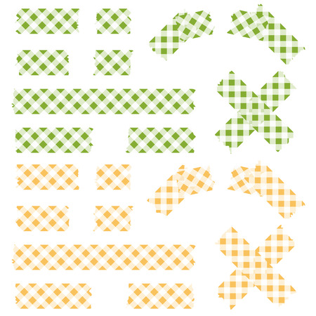 Tape checkered pattern - green and yellow Vector
