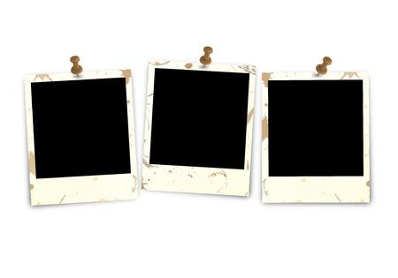 polaroid: Trois sale polaroid avec une aiguille de pin