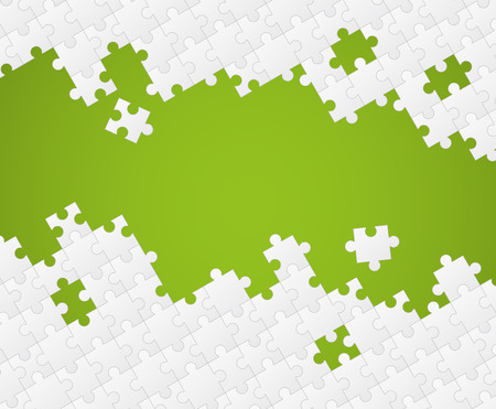White puzzle pieces on color background
