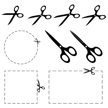 Set - scissors with dashed line