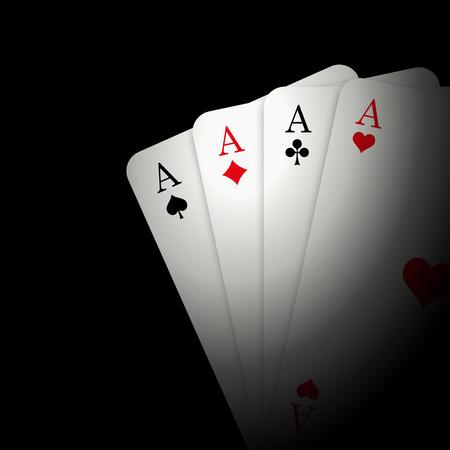 texas hold em: 4 Aces on black background