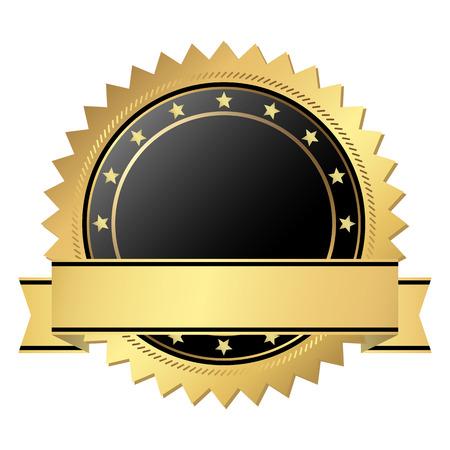 vector sjabloon zegel van kwaliteit goud met banner Stock Illustratie