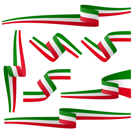 the italian flag: collection - italiano banner bandiera paese Vettoriali