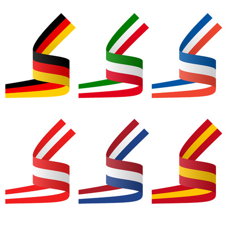 collection - european country flag banners Vector