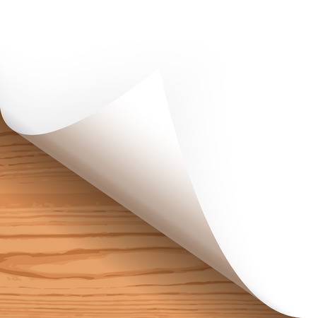 turn the corner: Paper lower left corner with wooden background