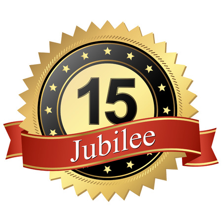 15: Jubilee button with banners 15 years