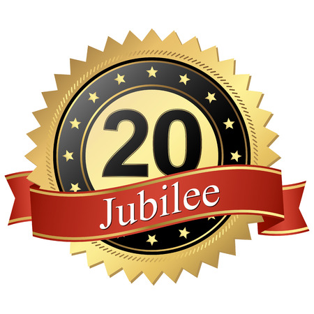 founding: Jubilee button with banners 20 years Illustration