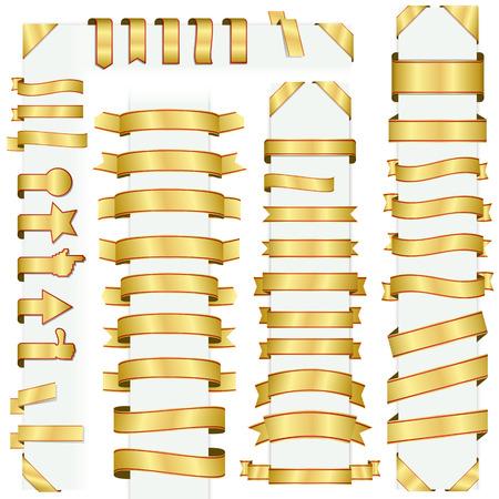 Grande collection de design rétro bannières or Banque d'images - 32312659