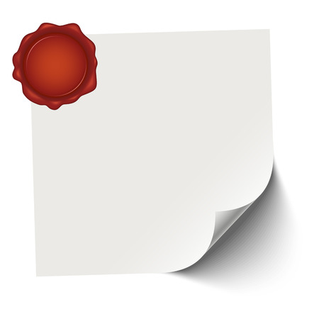 vector of empty paper with red wax seal