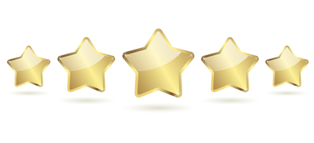 five golden stars with shadow in a row vector Vector