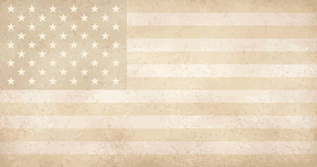 yellowed: vector of vintage yellowed grunge flag with scratches USA