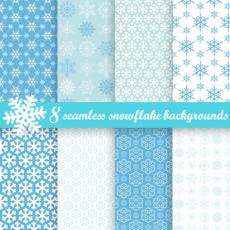 flurry: collection of eight seamless snowflake backgrounds Illustration
