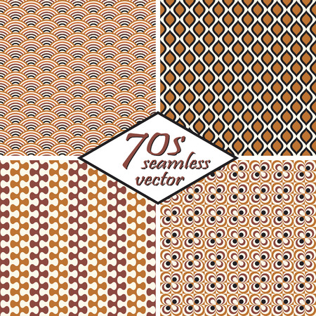 70s: collection of four seamless vintage 70s backgrounds Illustration