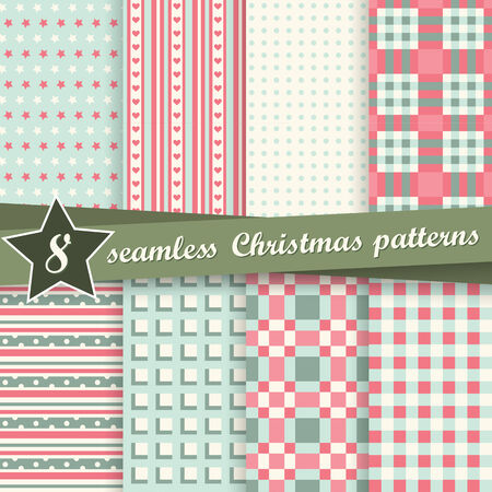 christmas plaid: collection of eight seamless christmas backgrounds